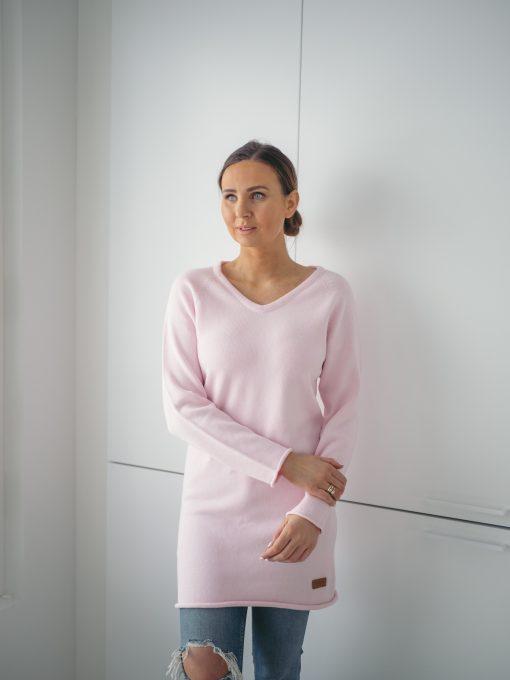 Pura Cotton V-neck Knit Dress Pink