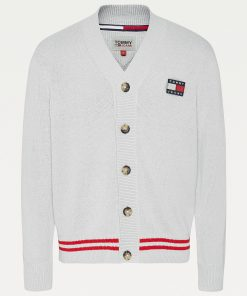Tommy Jeans V-Neck Badge Cardigan Silver grey Heather