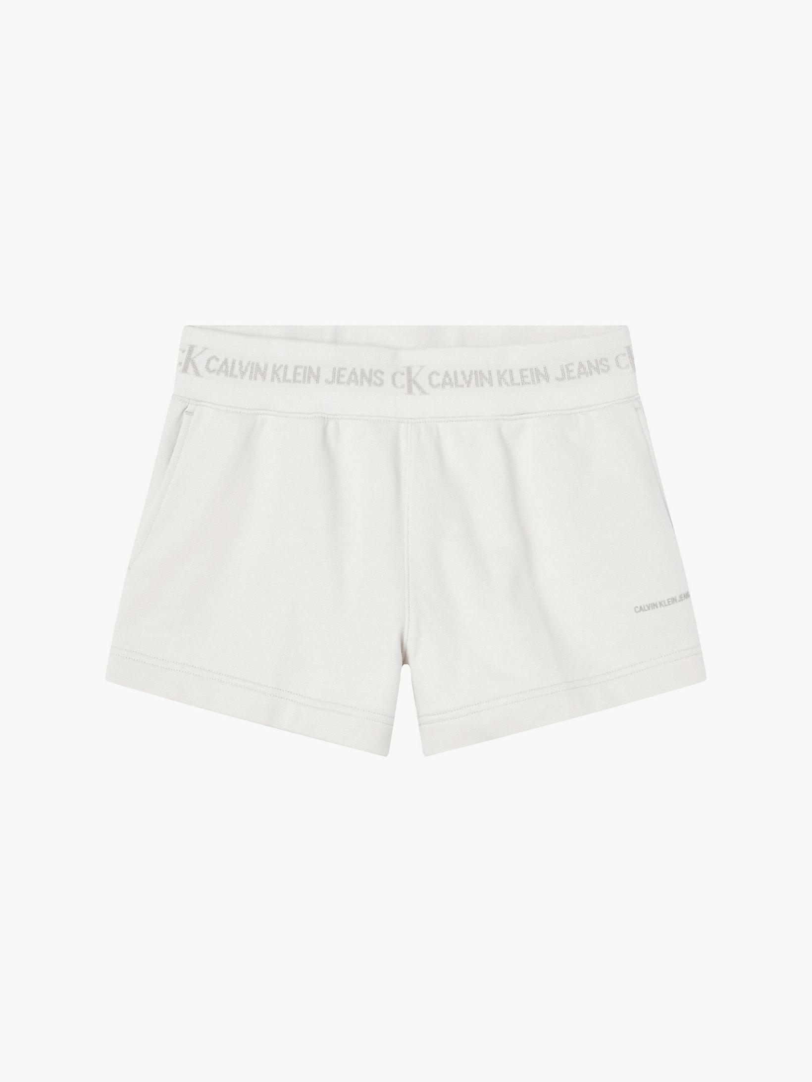 Calvin Klein Logo Trim Jogger Shorts White Sand
