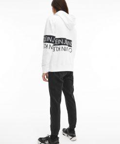 Calvin Klein Mirrored Logo Hoodie Bright White