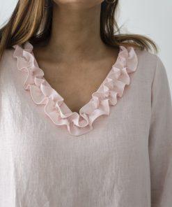 Pura Linen Ruffle V-Neck Tunic Rosa