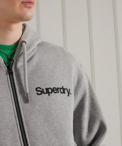 Superdry Military Graphic Zip Hoodie Grey Marl