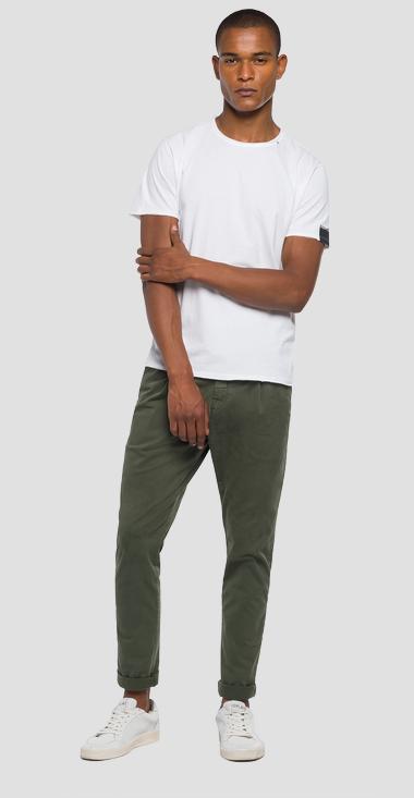 Replay Raw Cut Cotton T-shirt White