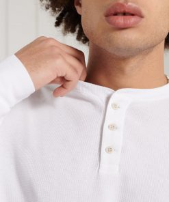 Superdry Organic Cotton Long Sleeve Waffle Henley Top Brilliant White