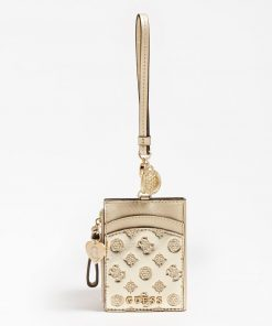 Guess Card Case Keyring Gold