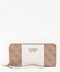 Guess Mika Large Ziparound Wallet Brown/White