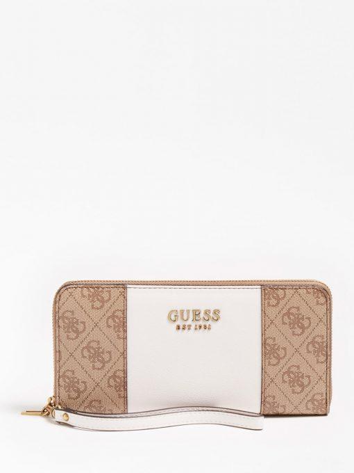 Guess Mika Large Ziparound Wallet Brown/White