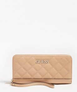 Guess Illy Quilted Zip Around Wallet Beige
