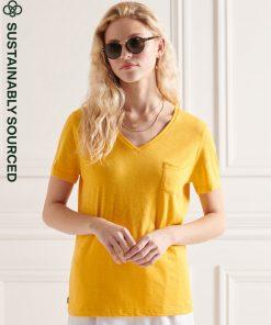 Superdry Pocket V Neck Tee Pigment Yellow