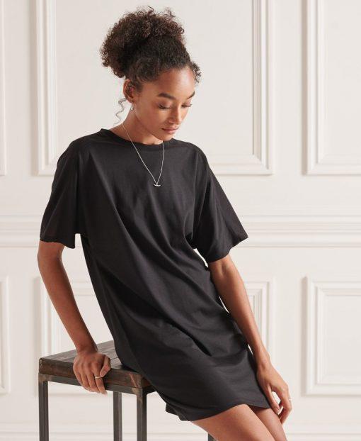 Superdry Cotton Modal T-Shirt Dress Black