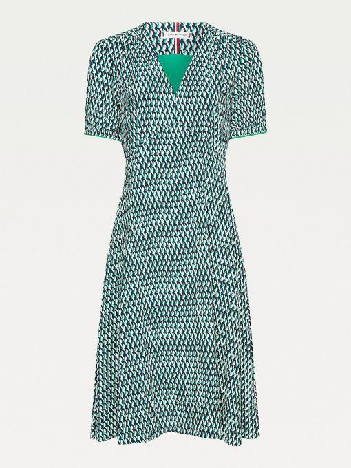 Tommy Hilfiger Geometric Print Dress Primary Green