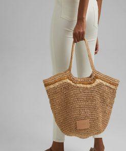 Esprit Straw bag Camel
