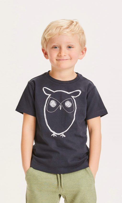 Knowledge Cotton Apparel Flax Owl Tee Total Eclipse