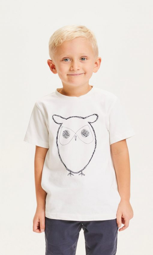Knowlwdge Cotton Apparel Flax Owl Tee Bright White