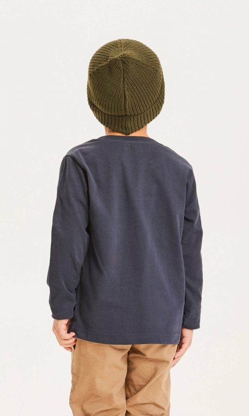 Knowlwdge Cotton Apparel Flax Owl Long Sleeve Tee Total Eclipse