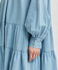 Selected Femme Gilli Chambray Dress Light Blue