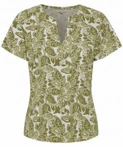 Part Two Gesina T-shirt Olive Drab Block Print