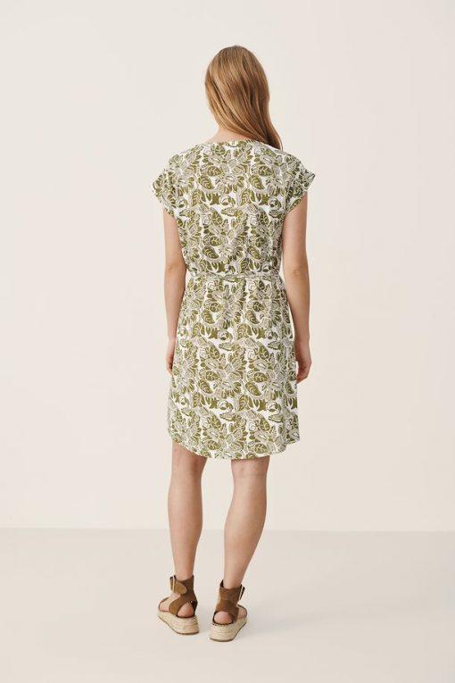 Part Two Ilima Dress Olive Drab Block Print