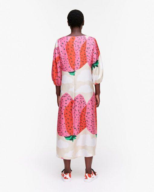 Marimekko Jylhä Mansikkavuoret Silk Dress Red