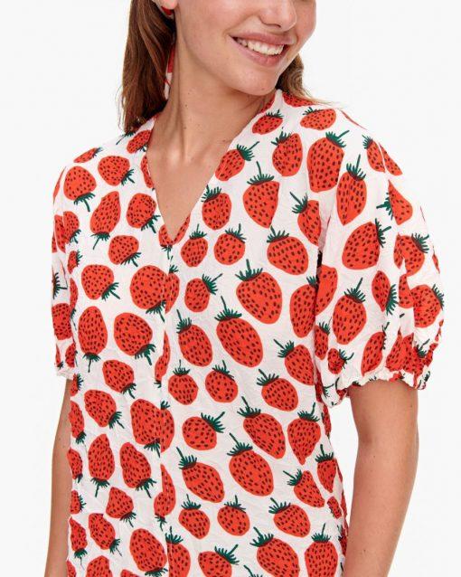 Marimekko Lehtevä Mansikka Shirt Red