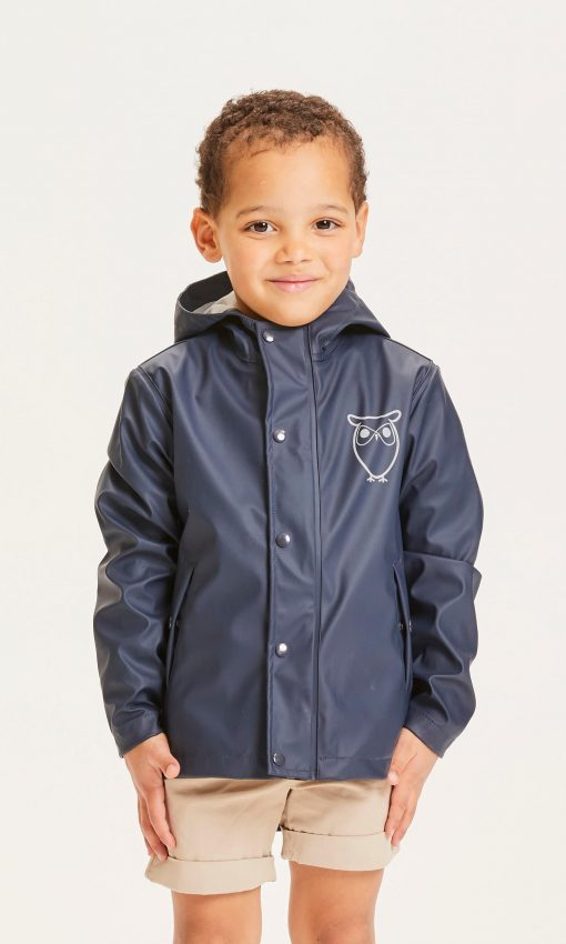 Knowledge Cotton Apparel Reed Short Rain Jacket Total Eclipse