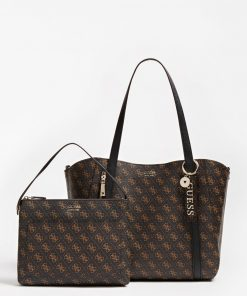 Guess Naya Trap Tote Dark Brown