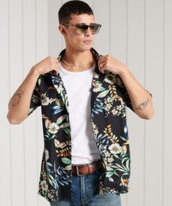 Superdry Hawaiian Shirt Black Hawaiian