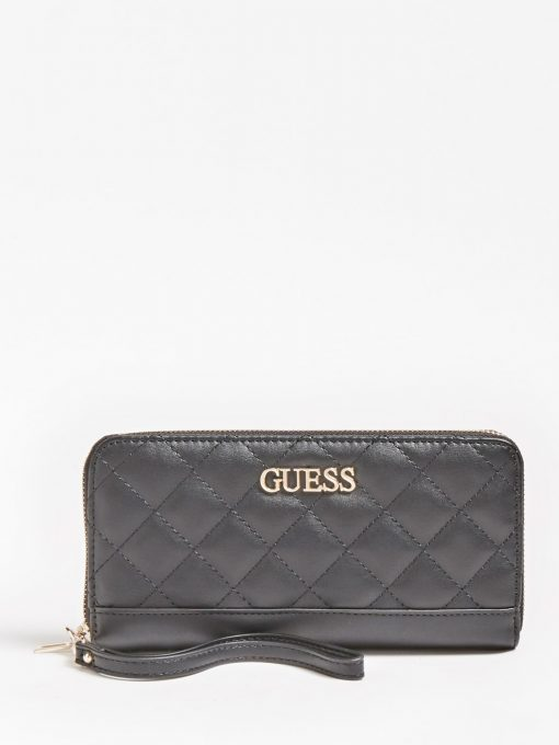 Guess Illy Quilted Zip Around Wallet  Black