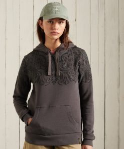 Superdry Bohemian Crafted Overhead Hoodie Washed Black