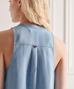 Superdry Tencel Sleeveless Shirt Light/mid Wash