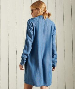 Superdry Tencel Oversized Shirt Dress Mid Wash