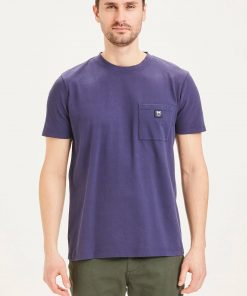 Knowledge Cotton Apparel Alder garment dyed pique tee w/pocket and badge Blue