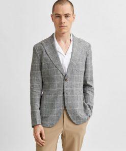 Selected Homme Linen Blazer Grey
