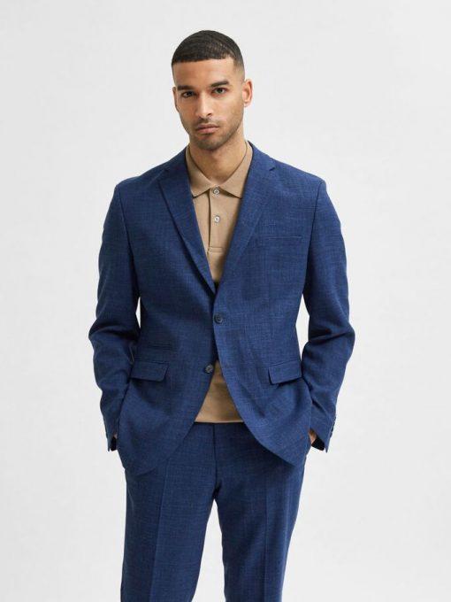Selected Homme Oasis Linen Blazer Estate Blue