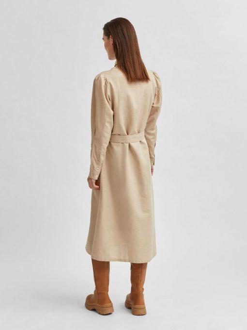 Selected Femme Florenta Midi Dress Beige