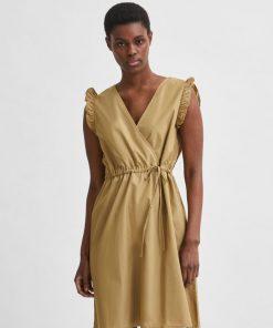 Selected Femme Lilo Damina Short Dress  Kelp