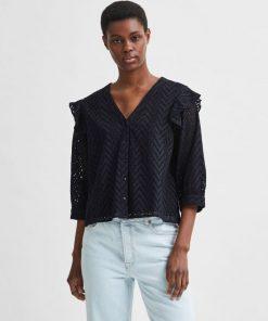 Selected Femme Josa Frill Shirt Black