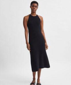 Selected Femme Maxa Maxi Knit Dress Black