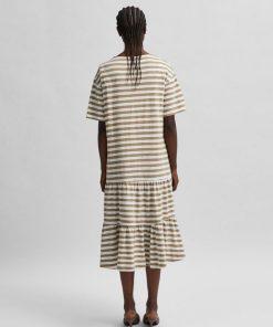 Selected Femme Reed Striped Midi Dress Kelp