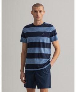Gant Barstripe T-shirt Denim Blue Melange