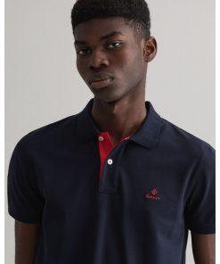 Gant Contrast Collar Pique Shirt Evening Blue