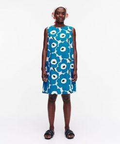 Marimekko Laineet Pieni Unikko Dress Blue