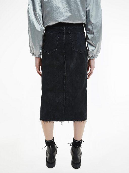 Calvin Klein High Rise Midi Skirt Dark Denim