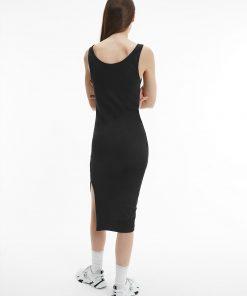 Calvin Klein Rib Jersey Midi Dress Black