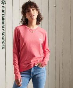 Superdry Organic Cotton Classic Long Sleeved Top Coral Marl