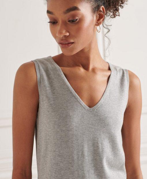 Superdry V-Neck Knitted Dress Mid Marl