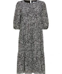 Selected Femme Viole Midi Aop Dress Black