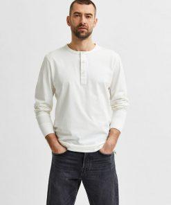 Selected Homme Baker Split Neck T-shirt White