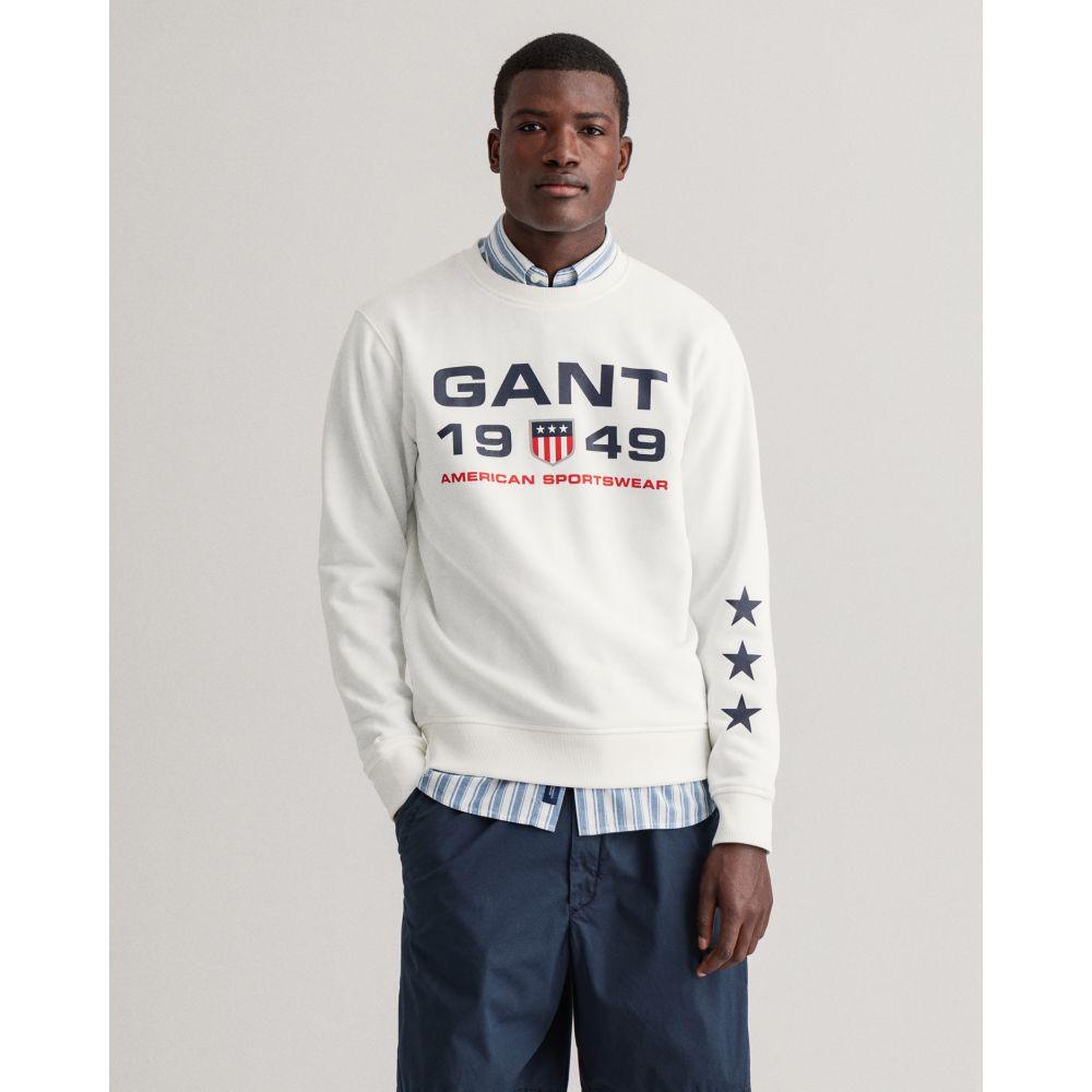 Gant Men Retro Shield Crew Neck Sweatshirt Eggshell