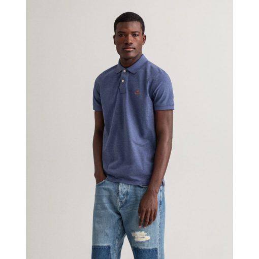 Gant Contrast Collar Pique Shirt Dk Jeansblue Melange